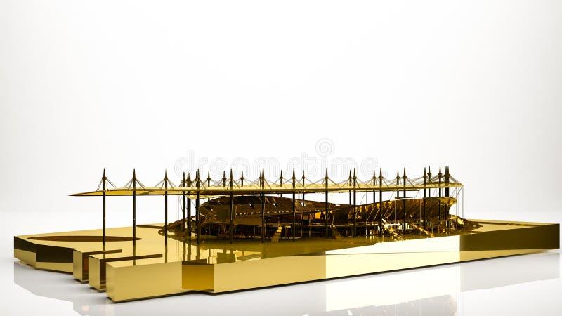 一个体育场的金黄3d翻译在演播室里面的 库存例证