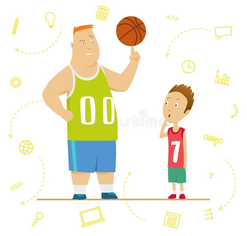 一个体育教训的大和小男小学生 资深和小辈程序员概念 小的大笔生意 向量例证