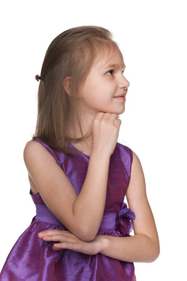 一个体贴的小女孩的外形画象 库存图片