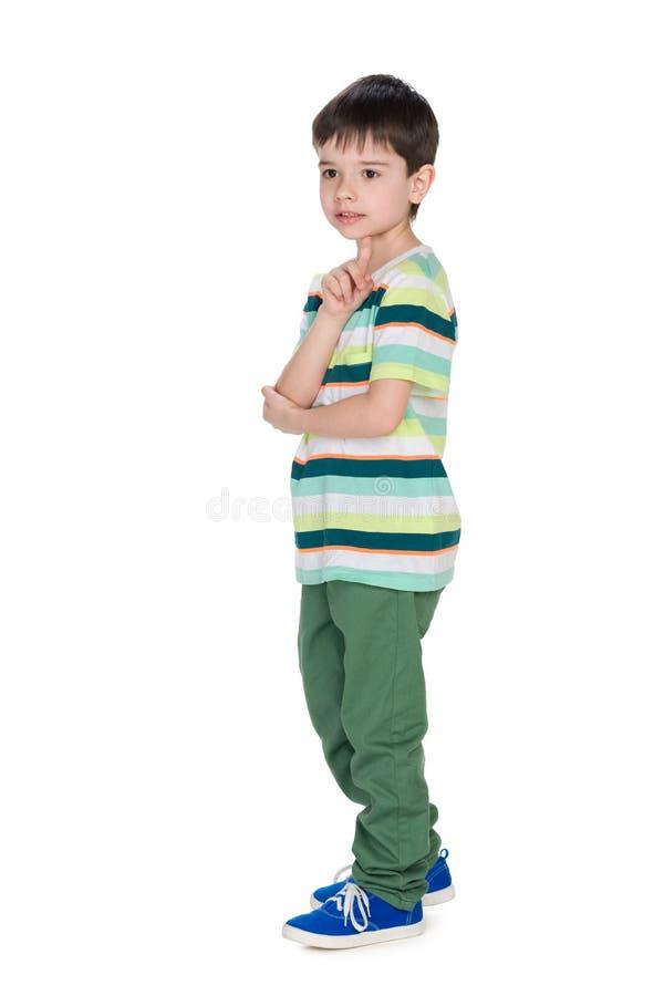 一个体贴的小男孩的外形画象 免版税库存图片