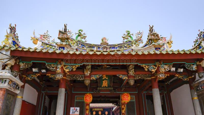一个佛教台湾寺庙的富有地装饰的屋顶,台南,台湾 库存图片