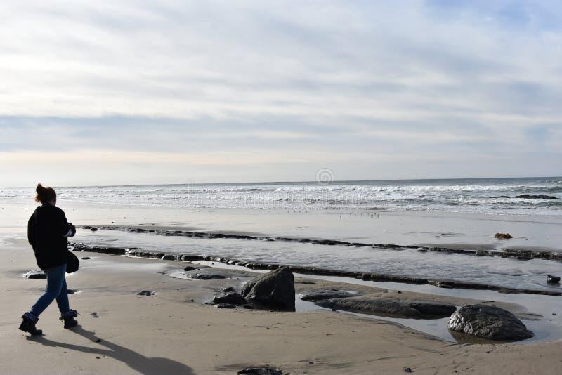 一个使命的青少年的摄影师她的在海滩的射击的 免版税图库摄影