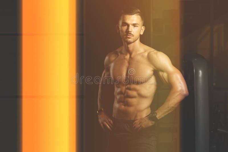 一个健身肌肉人的画象 库存照片