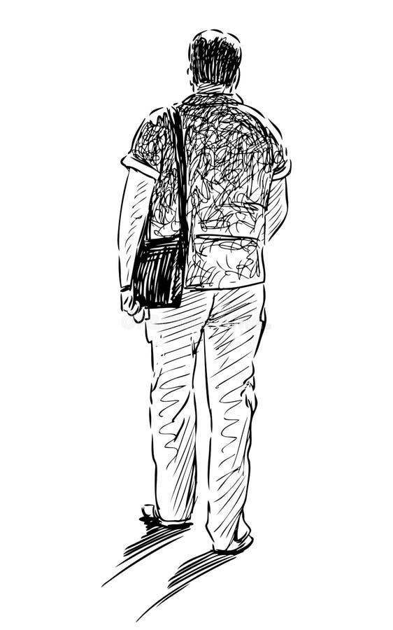 一个偶然城市步行者的剪影沿着走街道 库存例证