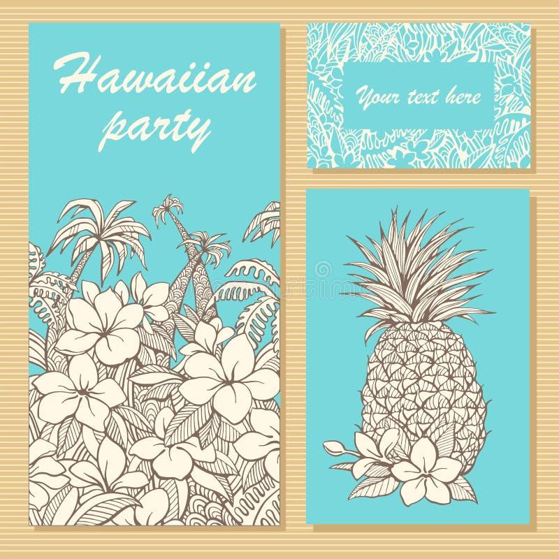 一个党的邀请卡片在与手拉的花、棕榈树和菠萝的夏威夷样式 库存照片
