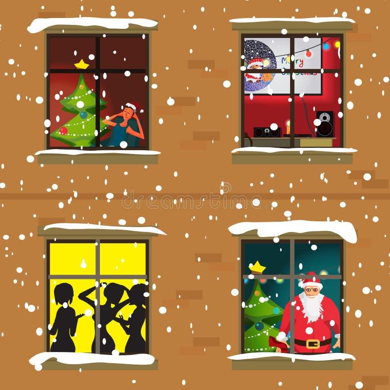 一个公寓的窗口在晚上圣诞节 库存例证