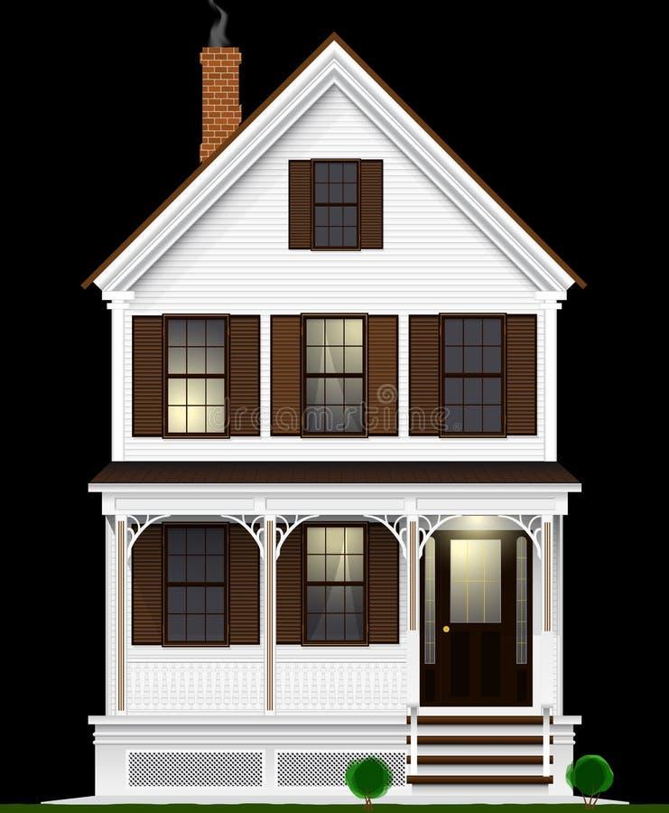 一个典型和经典美国房子由木头制成绘与白色油漆 两个地板、地下室和顶楼 被停泊的晚上端口船视图 库存例证
