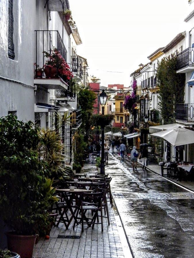 一个典型的村庄胡同在西班牙用走在雨以后的咖啡馆、花和人 免版税图库摄影
