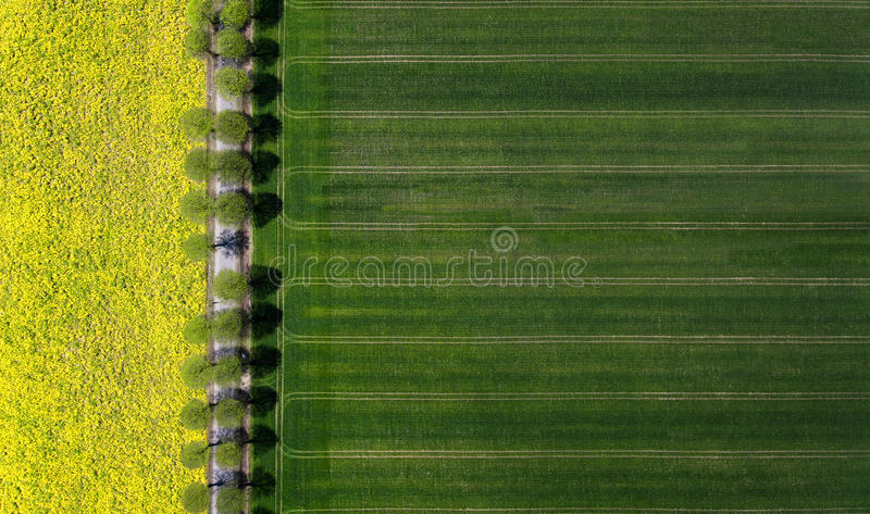 一个农村风景的鸟瞰图 免版税库存图片