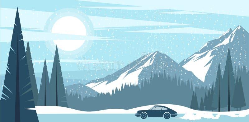 一个冷淡的冬天山的背景视图 库存例证