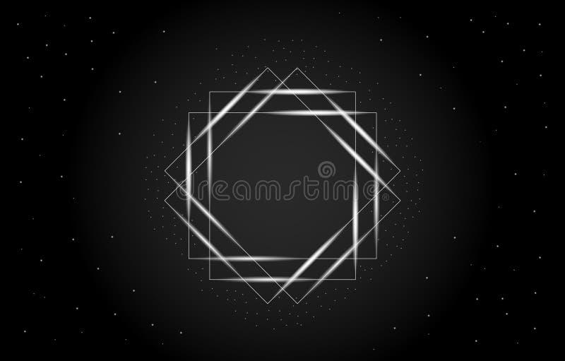 一个几何长方形的抽象传染媒介例证在中心 与与星的框架有黑暗的背景 皇族释放例证