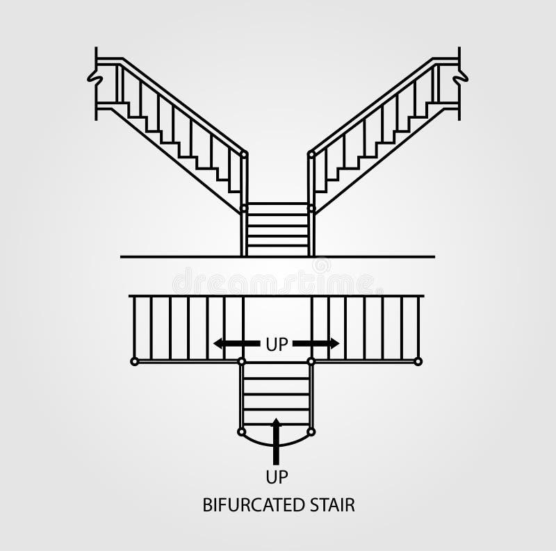 一个分枝的楼梯的顶面和正面图 向量例证