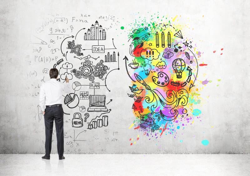 一个性色_穿一件白色衬衣和画在一个混凝土墙上的商人的背面图一个创造性的