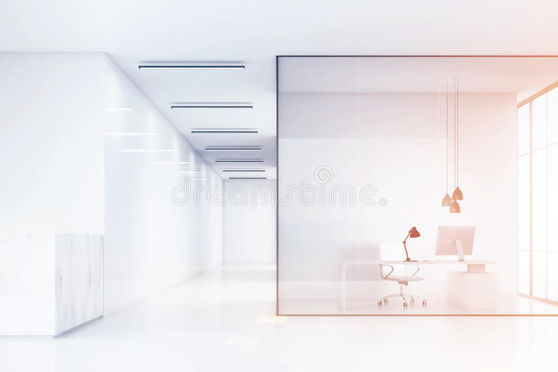 一个办公室大厅和有白色家具和玻璃墙的一个办公室的侧视图有一个大理石招待会柜台的 向量例证