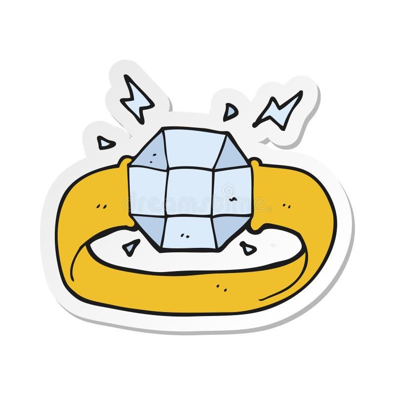 一个动画片圆环的贴纸与巨大的宝石的 皇族释放例证