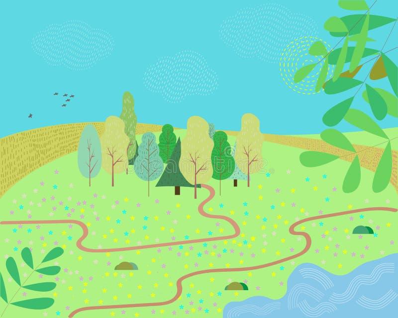 一个动画片夏天或春季国家风景的例证,当路足迹带领往天际 向量例证
