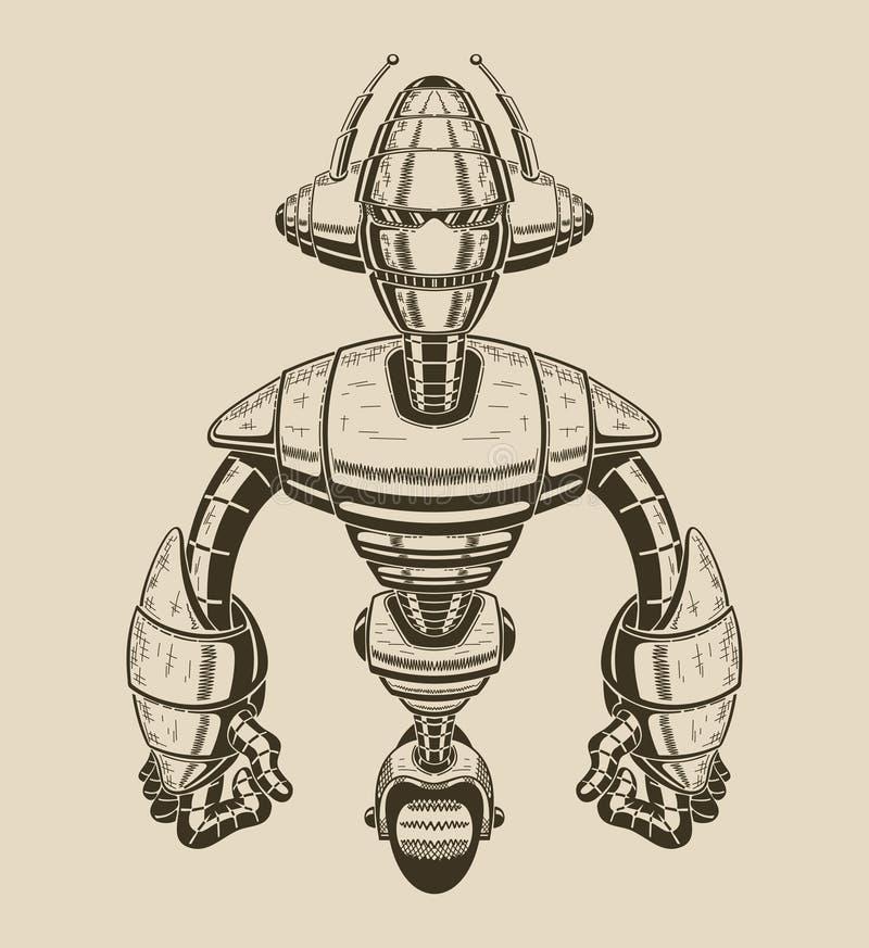 一个动画片金属机器人的图象有天线的