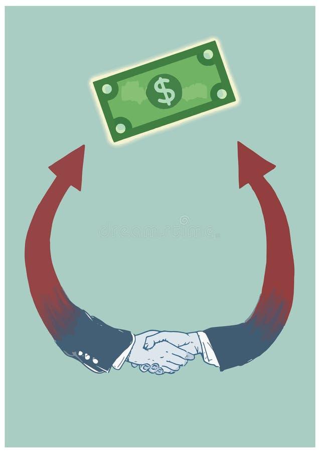一个协议的表示法由握手的 经济合同的标志达到经济成功 库存图片