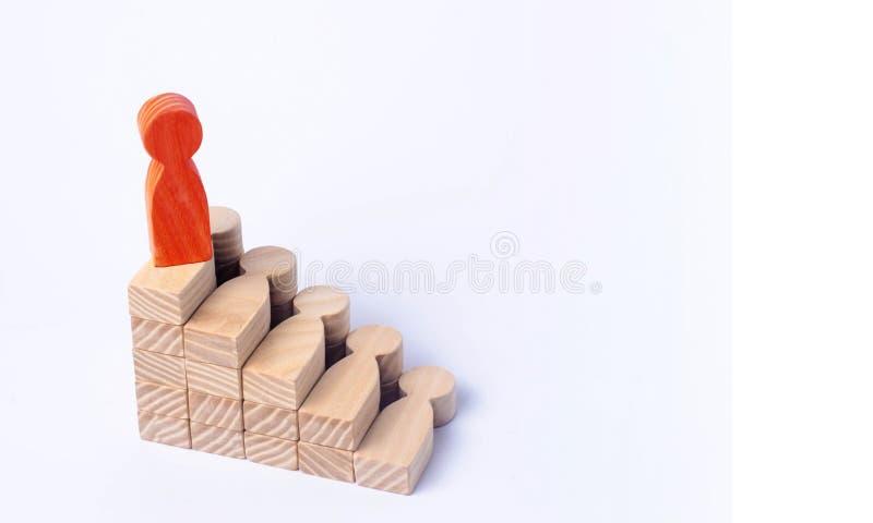 一个印地安人站立在社交或事业梯子顶部 免版税库存图片