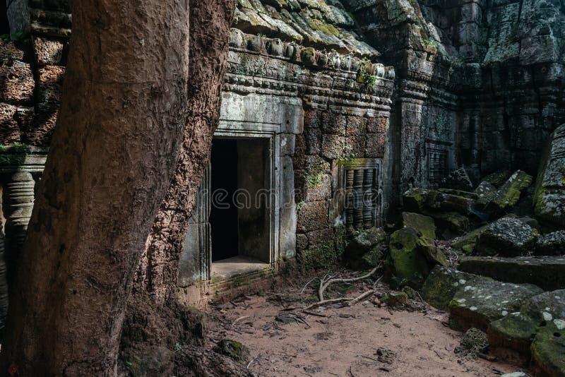 一个古庙的石门在吴哥复合体,暹粒,柬埔寨的 免版税图库摄影