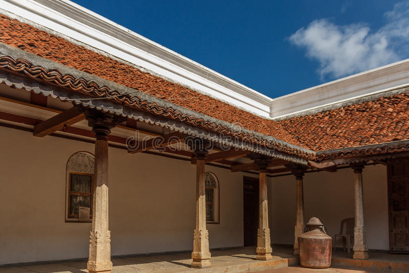 一个古老婆罗门泰米尔・那杜房子的里面看法,金奈,印度, 2017年2月25日 免版税库存图片