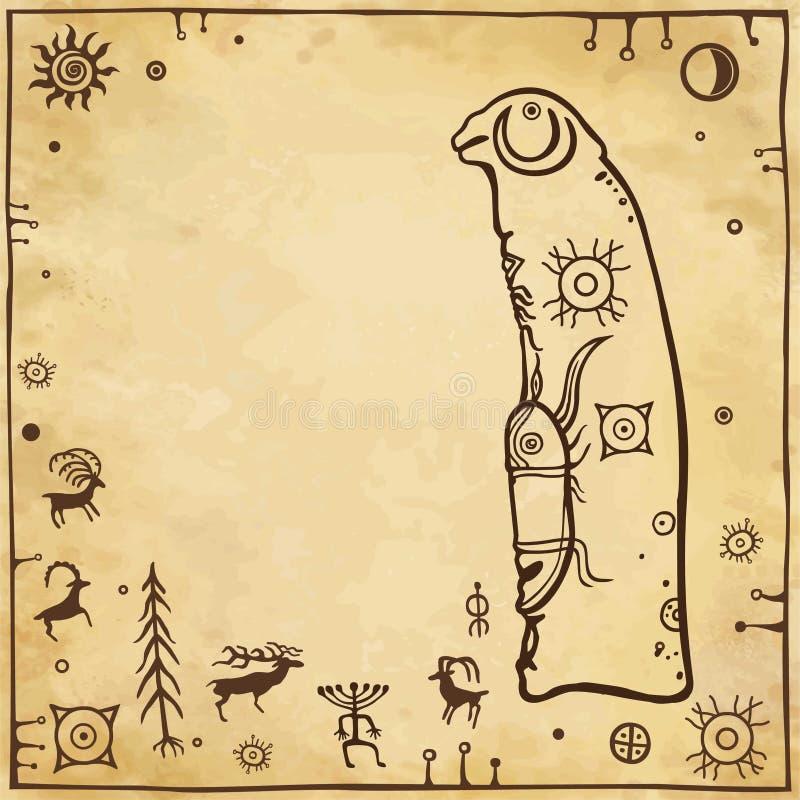 一个古老石石碑的动画图画有巴兰的头的 岩石绘画 向量例证