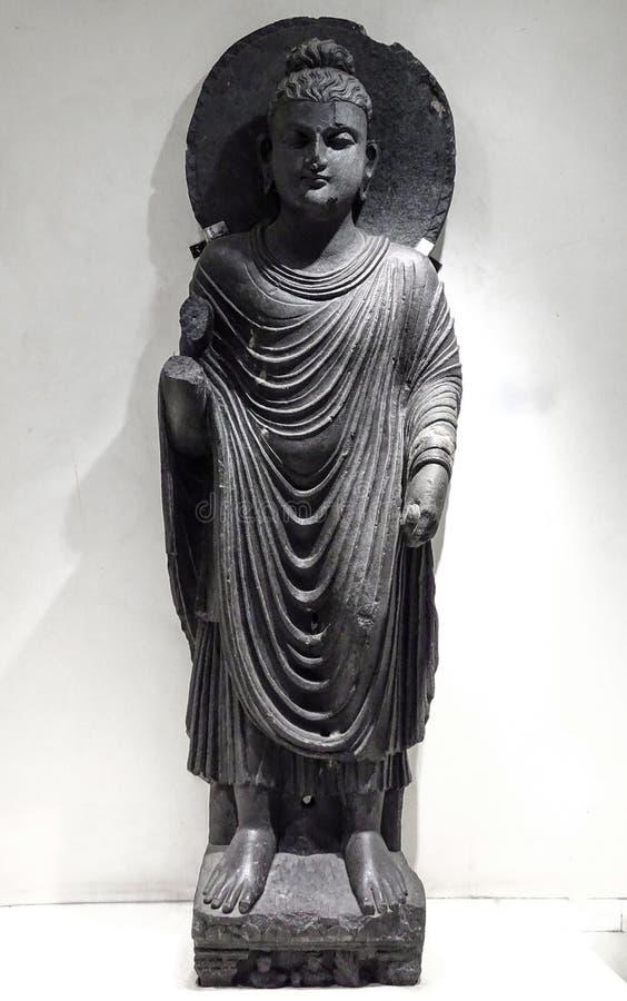 一个古老身分Buddha& x27;s神象在博物馆保留 免版税库存照片