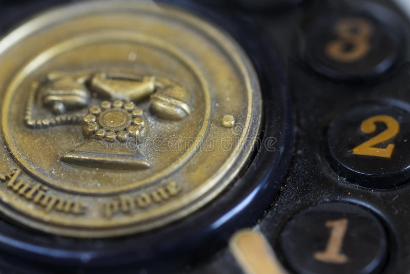 一个古色古香的电话的细节 免版税图库摄影
