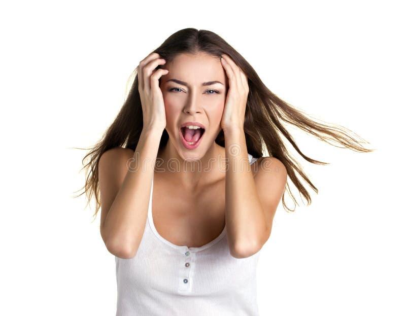 一个叫喊的女孩的画象 免版税图库摄影