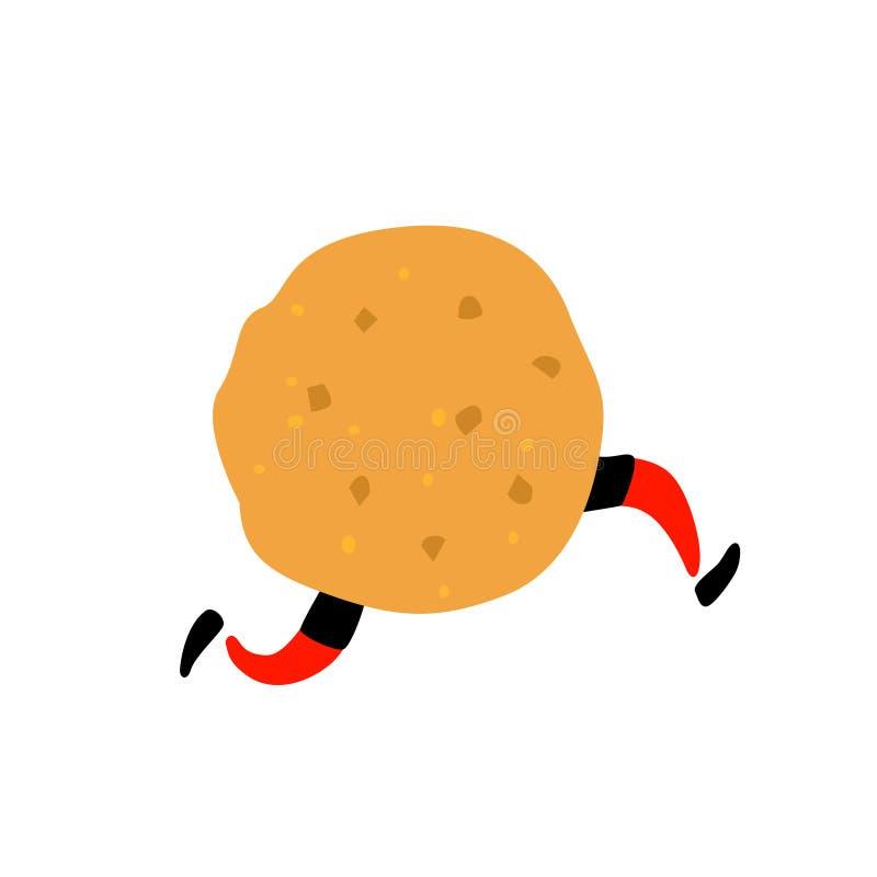 一个可口曲奇饼的例证 ?? 与腿的字符 站点的象白色背景的 标志,商店的商标 熟食店 库存例证