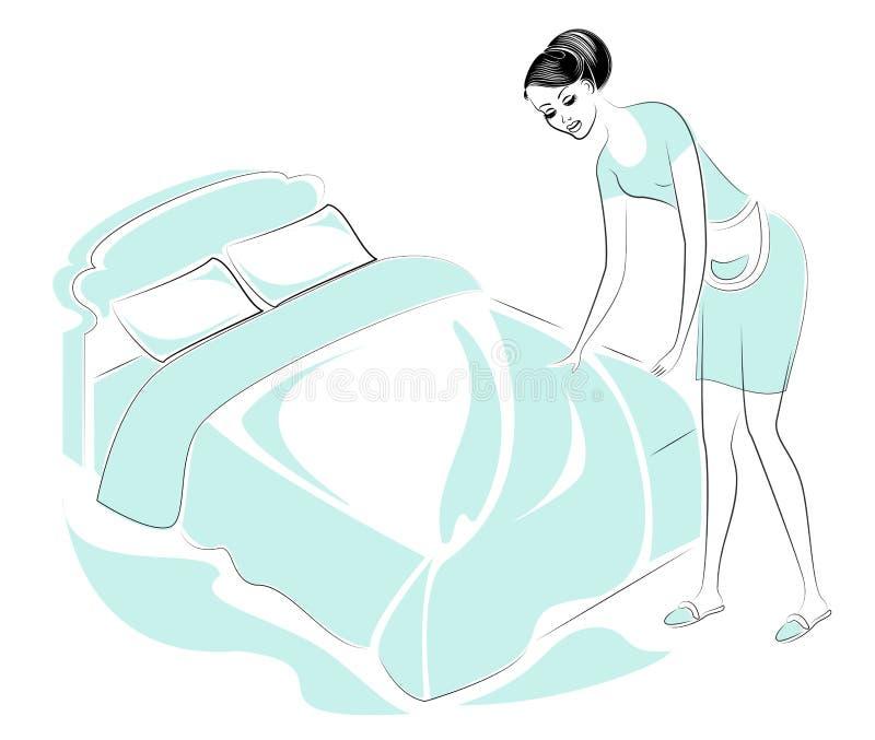 一个可爱的夫人的档案 女孩在屋子里做一张床 妇女是一个好妻子和一位整洁的主妇,佣人 ?? 向量例证