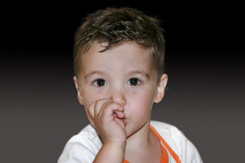 一个可爱的小男孩的画象吮两的岁  库存照片