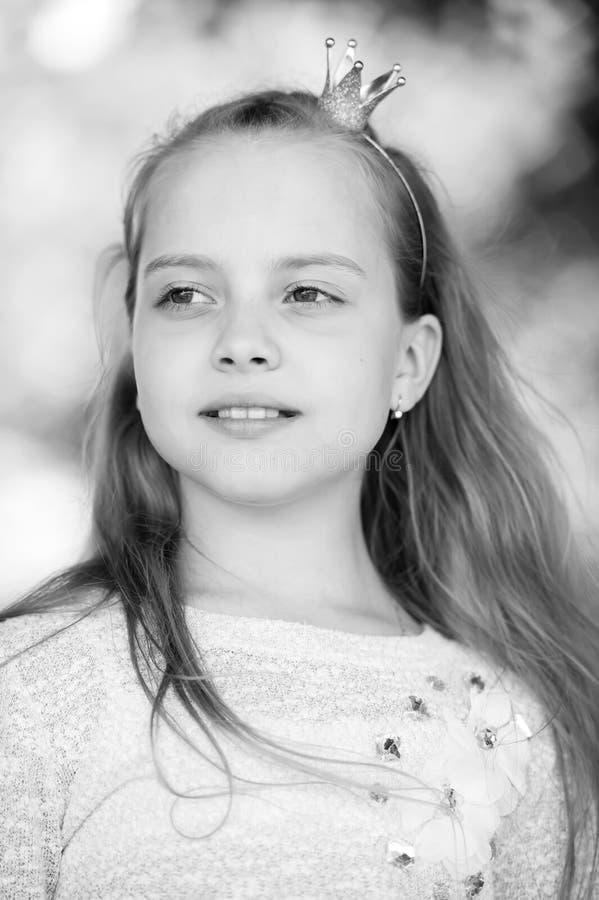 一个可爱的矮小的愉快的公主女孩的画象 免版税库存图片