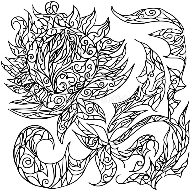 一个向日葵的几何花从黑线的与zentangle元素 皇族释放例证