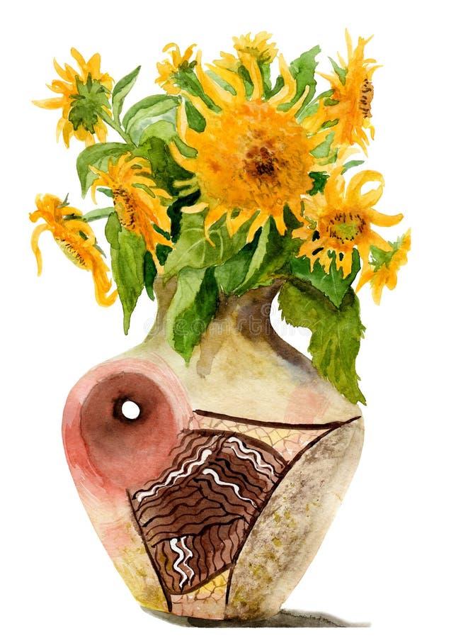 一个向日葵的水彩图片在花瓶的 皇族释放例证