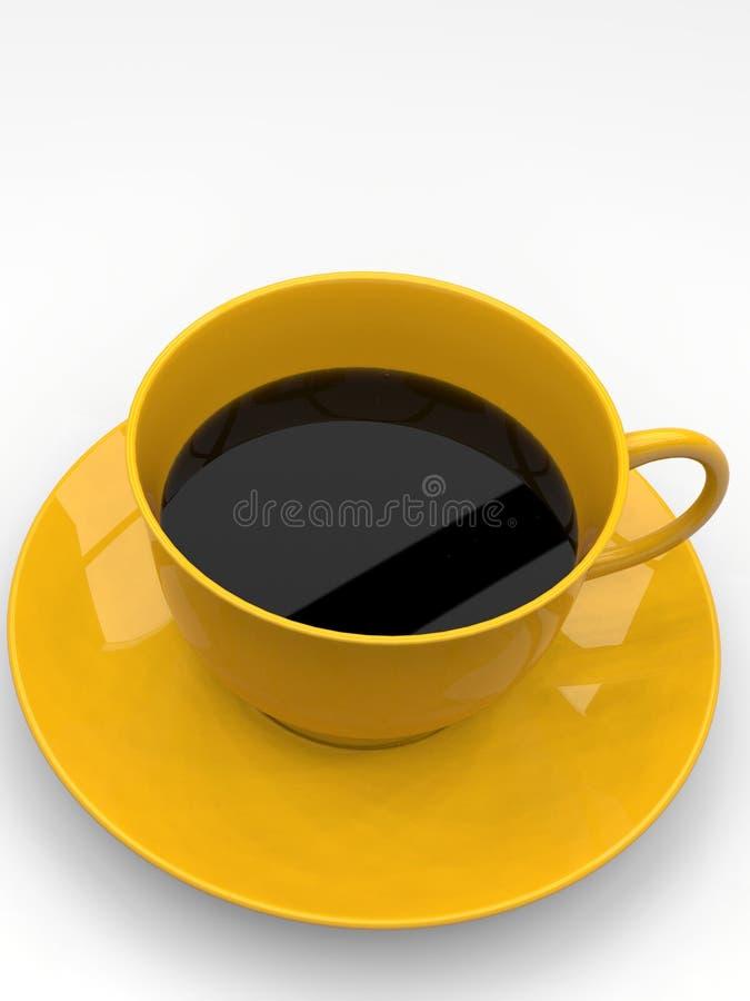 一个咖啡杯,黄色陶瓷,在白色背景 免版税库存照片