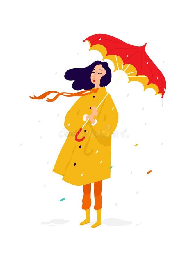 一个哀伤的女孩的例证一件黄色雨衣的 ?? 一名妇女在多雨天气的一把伞下是哀伤和哀伤的 消沉和 向量例证