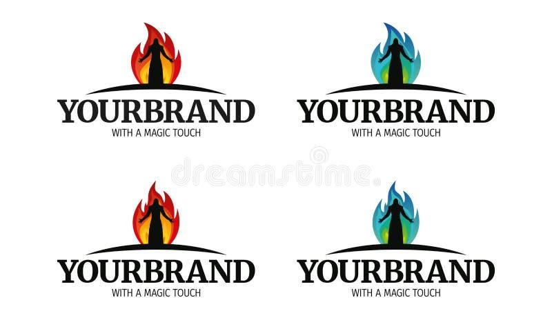 一个品牌的督伊德教憎侣火魔术巫师战士商标与一种不可思议的接触 向量例证