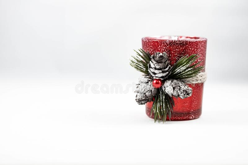 一个唯一圣诞节蜡烛装饰品的图象 库存照片
