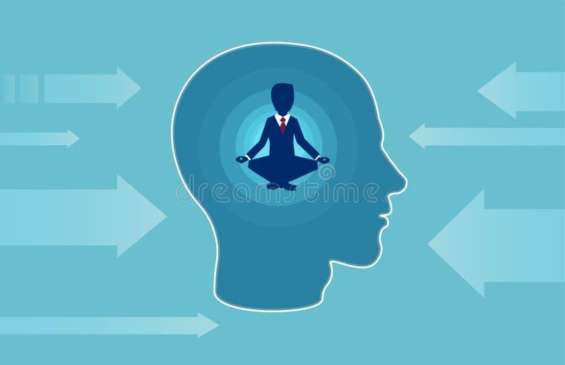 一个商人的传染媒介在做瑜伽抵抗的外部消极影响的人头里面的 皇族释放例证