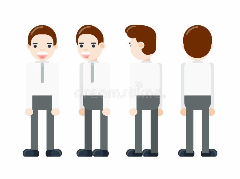 一个商人的画象在全长的从不同的角度 装配和动画的字符 向量例证