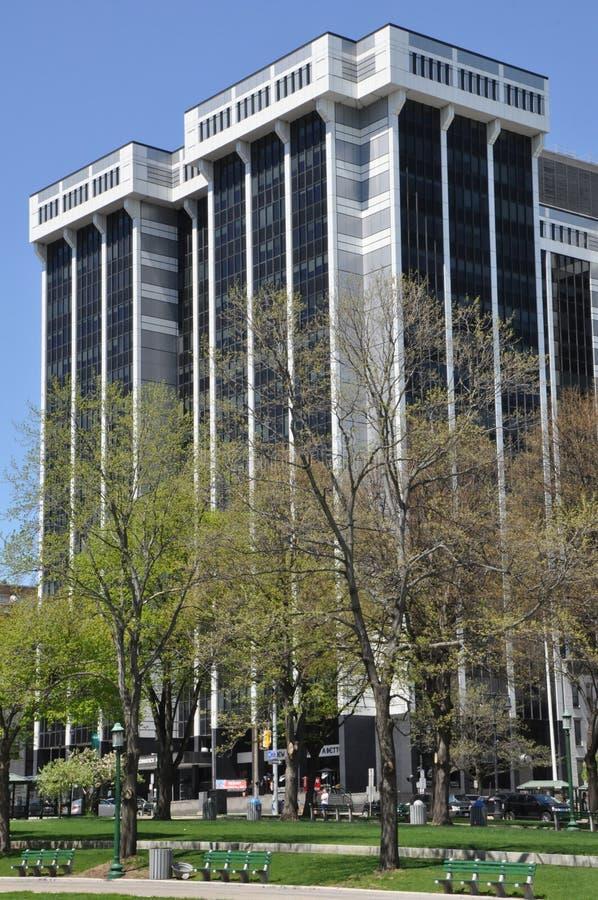 一个商务广场在阿尔巴尼,纽约州 库存图片