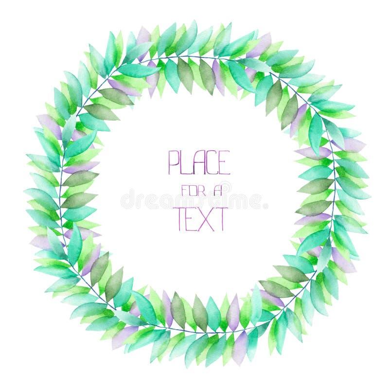 一个圈子框架、花圈与绿色的水彩的花饰和紫罗兰在分支离开,婚姻邀请 库存例证