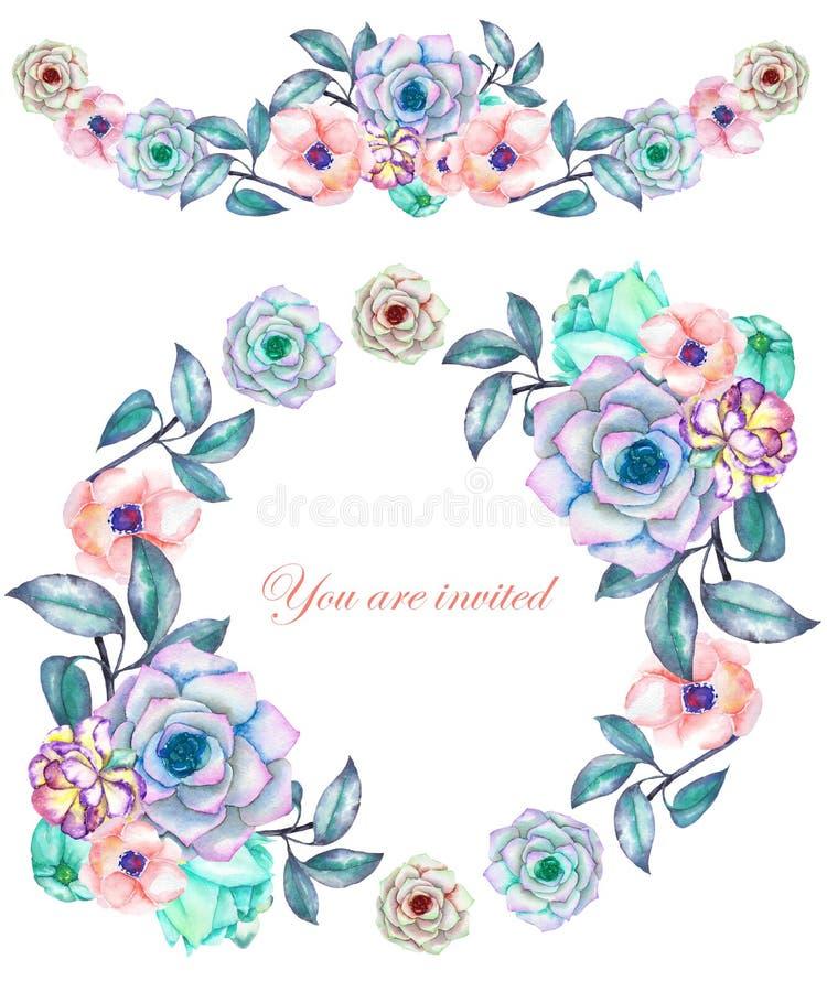一个圈子框架、花圈和框架边界(诗歌选)与水彩花和多汁植物,婚姻的邀请 库存例证