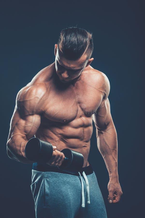 一个在dar的肌肉年轻人举的哑铃重量的特写镜头 库存图片