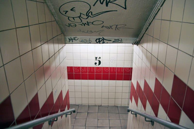 一个地下停车场的楼梯间 法国,马赛 免版税库存图片