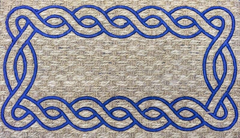 一个地毯的纹理从粗砺的纤维的 设计和装饰的背景 库存图片