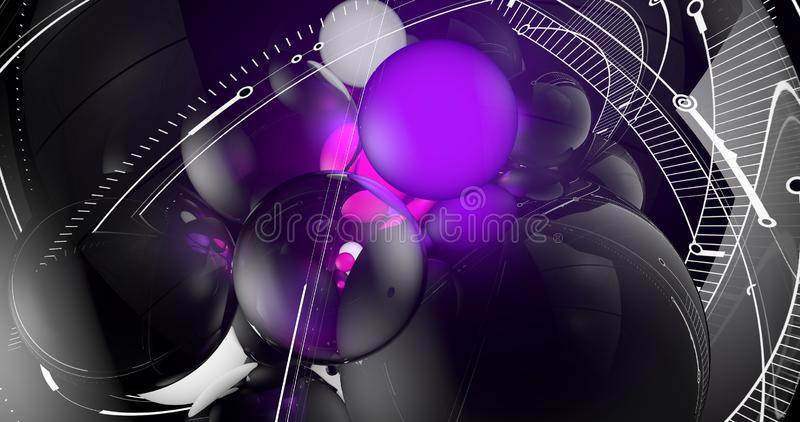 一个场面有做样式的紫罗兰色球形特写镜头视图  皇族释放例证