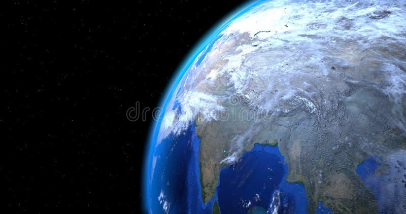 一个场面有地球行星的特写镜头视图 库存例证