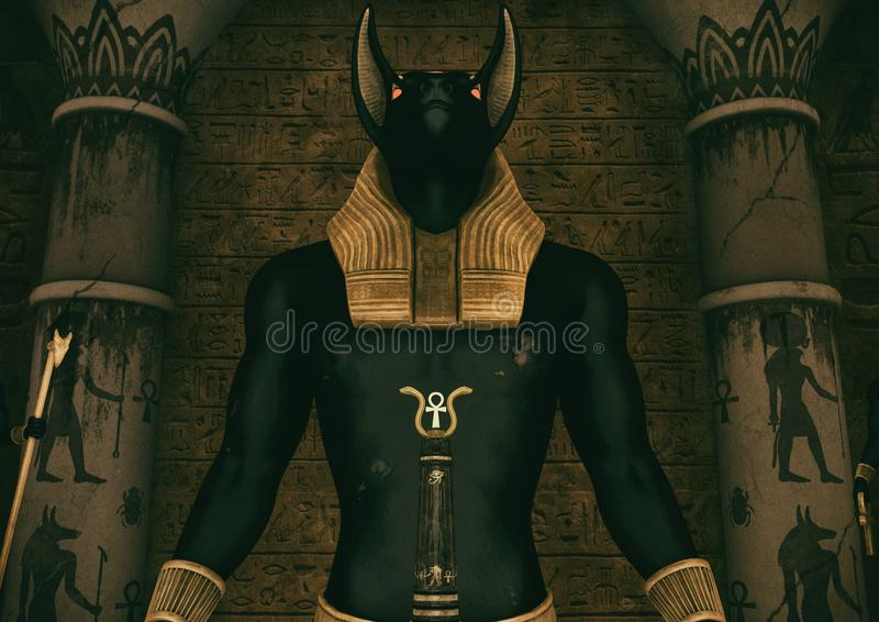 一个场面有埃及上帝阿努比斯的一个巨大的雕象的特写镜头视图 库存例证